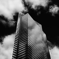 black and white photo of New York skyscraper
