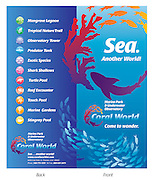 Sea. Another World! Located in St. Thomas, US Virgin Islands. Coral World Brochure Front and Back.