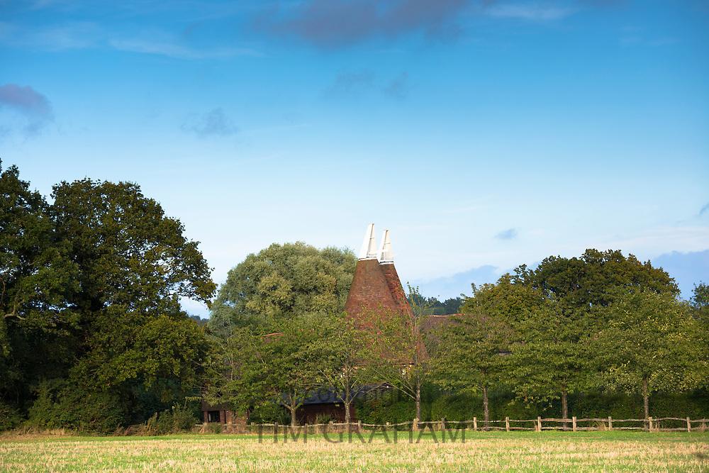 Traditional oast houses - hop kilns - for kilning hops (drying) in Kent, England, UK