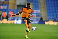 Dominic Iorfa of Wolverhampton Wanderers in action. Skybet football league championship match, Cardiff city v Wolverhampton Wanderers at the Cardiff city stadium in Cardiff, South Wales on Saturday 22nd August 2015.<br /> pic by Andrew Orchard, Andrew Orchard sports photography.
