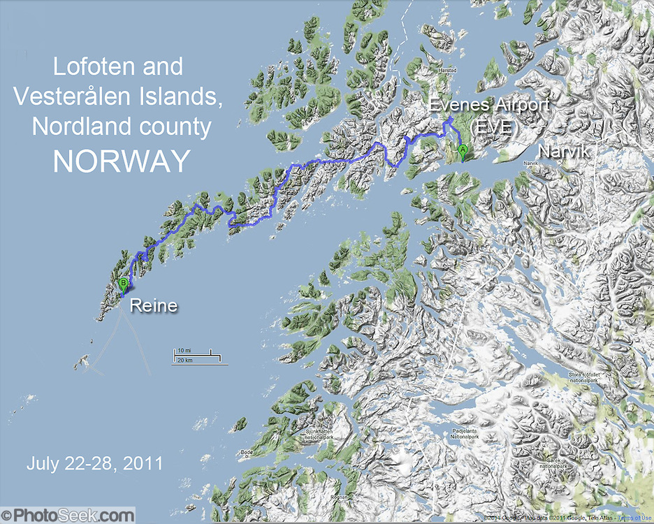 Northern Norway map of driving route over mountainous terrain, bridges, and tunnels from Evenes Airport (EVE) to Reine in the Lofoten and Vesteralen Islands, Nordland county, Norway, Europe (from Google.com).