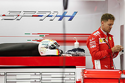 April 8, 2018 - Sakhir, Kingdom of Bahrain - SEBASTIAN VETTEL of Scuderia Ferrari prior to the 2018 FIA Formula 1 Bahrain Grand Prix at Bahrain International Circuit in Sakhir, Kingdom of Bahrain. (Credit Image: © James Gasperotti via ZUMA Wire)