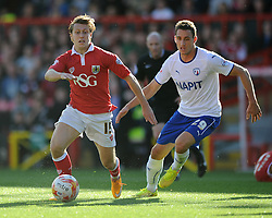 Bristol City's Luke Freeman is closed down by Chesterfield's Georg Margreitter - Photo mandatory by-line: Dougie Allward/JMP - Mobile: 07966 386802 - 11/10/2014 - SPORT - Football - Bristol - Ashton Gate - Bristol City v Chesterfield - Sky Bet League One