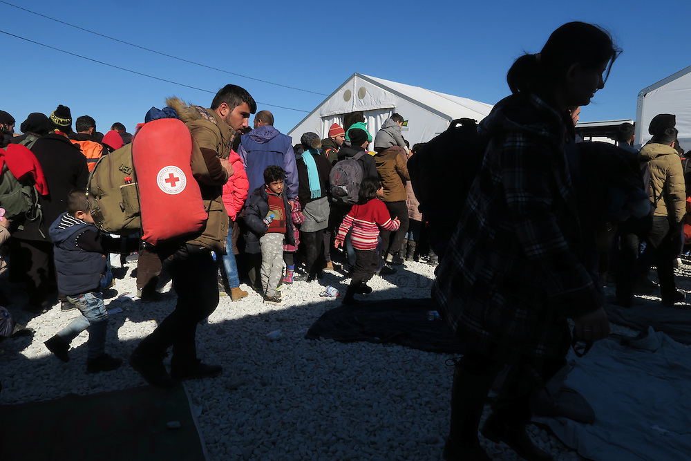 Refugees and migrants wait for a train to continue their journey towards western Europe from the Macedonia-Greece border at the Vinojug Temporary Transit Centre outside the village of Gevgelija, Macedonia, February 1, 2016.<br /> Photo: Darrin Zammit Lupi