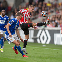 Brentford's Marcus Forss  (right) <br /> <br /> Photographer David Horton/CameraSport<br /> <br /> The Premier League - Brentford v Leicester City - Sunday 24th October 2021 - Brentford Community Stadium - Brentford<br /> <br /> World Copyright © 2021 CameraSport. All rights reserved. 43 Linden Ave. Countesthorpe. Leicester. England. LE8 5PG - Tel: +44 (0) 116 277 4147 - admin@camerasport.com - www.camerasport.com