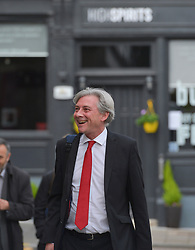 Scottish Labour leader Richard Leonard arrives for a meeting with workers from bus builder Alexander Dennis in Falkirk today, The manufacturer announced plans to cut 160 jobs at the plant last month.<br /> <br /> © Dave Johnston / EEm