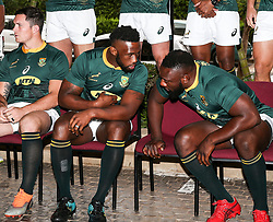 Durban. 170818. Springbok team picture with Springbok each Rassie Erasmus during the South African national rugby team captains media conference and team photo at Garden Court Umhlanga  in Durban, South Africa. Picture Leon Lestrade. African News Agency/ANA