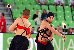 Performers at friendly match between Serbia and Croatia for Adecco Cup 2011 as part of exhibition games before European Championship Lithuania on August 9, 2011, in SRC Stozice, Ljubljana, Slovenia. (Photo by Urban Urbanc / Sportida)