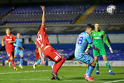 Birmingham City's Mikel San Jose appeals for a corner, as Ryan Giles of Coventry City (on loan from Wolves) watches the ball go behind the byline - Mandatory by-line: Nick Browning/JMP - 20/11/2020 - FOOTBALL - St Andrews - Birmingham, England - Coventry City v Birmingham City - Sky Bet Championship