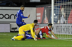Bristol City's Matt Smith collides with the post - Photo mandatory by-line: Dougie Allward/JMP - Mobile: 07966 386802 - 29/01/2015 - SPORT - Football - Bristol - Ashton Gate - Bristol City v Gillingham - Johnstone Paint Trophy