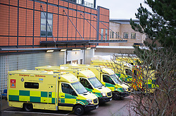 © Licensed to London News Pictures 05/01/2021.         Farnborough, UK. London ambulances waiting outside Princess Royal Hospital in Farnborough, South East London. Due to the high number of Coronavirus patients some have been left waiting outside A&E departments in the back of ambulances for treatment. Photo credit:Grant Falvey/LNP