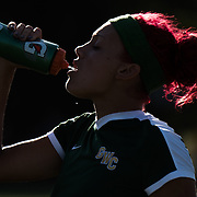 Valentina Manns, a sophomore center back for Golden West College, takes a sip of water at halftime during the team's last regular season match against Fullerton College on November 4, 2016.  Golden West College won the game 3-1.