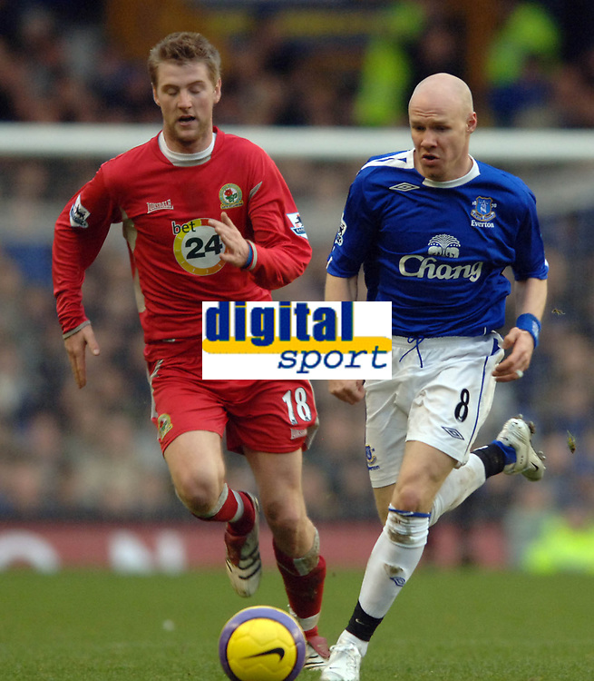 Photo: Paul Greenwood.<br />Everton v Blackburn Rovers. The Barclays Premiership. 10/02/2007. Andy Johnson's pace allows him to keep ahead of Blackburn's Paul Gallagher.