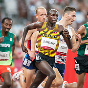 TOKYO, JAPAN August 3:    Oscar Chelimo of Uganda in action during the Men's 5000m round one heat one race at the Olympic Stadium during the Tokyo 2020 Summer Olympic Games on August 3rd, 2021 in Tokyo, Japan. (Photo by Tim Clayton/Corbis via Getty Images)