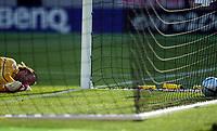 Photo: Scott Heavey, Digitalsport<br /> England v Switzerland. Group B, UEFA European Championship 2004. 17/06/2004.<br /> Jong Steil lies helpless after Wayne Rooney's strike slipped through his grasp