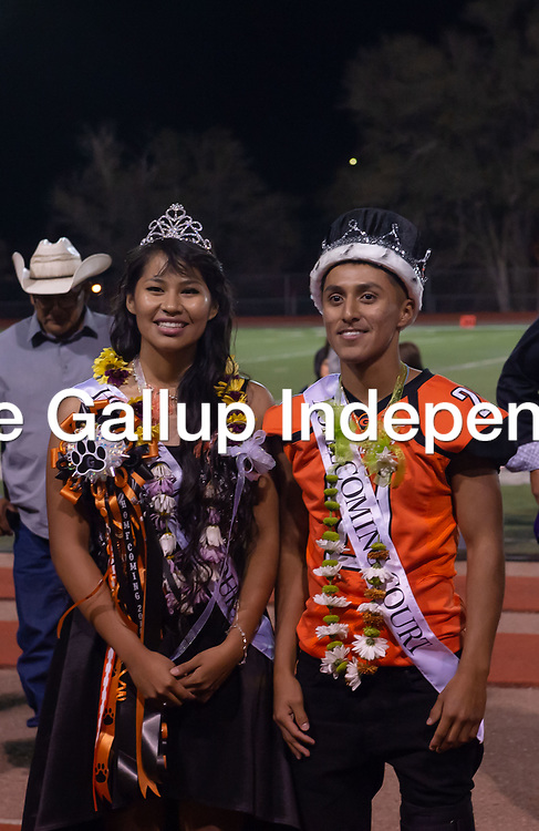 Megan Toledo, left, and Seth Manuelito are crowned Gallup High School's Homecoming King and Queen at halftime on Friday Sept. 21st at Angelo Dipaolo Stadium in Gallup.