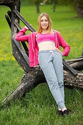 Klara Japelj posing during official photo shoot of Miss Sporta Slovenije 2016, on April 23, 2016 in Tivoli, Ljubljana, Slovenia. Photo by Vid Ponikvar / Sportida