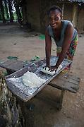 Woman kneading manioc dough<br /> Republic of Congo (Congo - Brazzaville)<br /> AFRICA