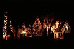 Ewing Mansion Castle - late 1970's or early 1980's.  Night shot.<br /> <br /> This image was scanned from a slide, print or transparency.  Image quality may vary.  Dust and other unwanted artifacts may exist.