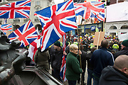 Members of Britain First in counter protest at Anti-racism Day demonstration led by Stand Up To Racism on 19th March 2016 in London, United Kingdom. Stand Up To Racism has led some of the biggest anti-racist mobilisations in Britain of the last decade, making a stand protesting against racism, Islamophobia, anti-Semitism and fascism.