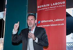© Licensed to London News Pictures. 21/05/2019. Bristol, UK. PAUL MASON speaks at a Remain Labour rally at the The Love Inn on Stokes Croft organised by the Remain Labour group as part of campaigning in the elections for the European Parliament. Speakers included Labour's Deputy Leader Tom Watson, Paul Mason and MEP south west England candidates Clare Moody and Andrew Adonis. Photo credit: Simon Chapman/LNP