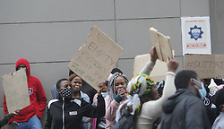 South Africa - Durban - 18 June 2020 - DUT students protesting outside their student residence after they were asked to find another place for accomodation in Durban, Russel street on the 18 June 2020.<br /> Picture: Bongani Mbatha/African News Agency(ANA)