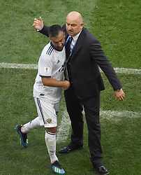 MOSCOW, July 1, 2018  Head coach Stanislav Cherchesov (R) of Russia greets Alexander Samedov during the 2018 FIFA World Cup round of 16 match between Spain and Russia in Moscow, Russia, July 1, 2018. (Credit Image: © Wang Yuguo/Xinhua via ZUMA Wire)
