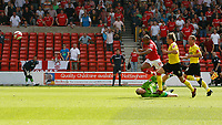 Photo: Steve Bond/Richard Lane Photography.<br />Nottingham Forest v Watford. Coca-Cola Football League Championship. 23/08/2008. Rob Earnshaw vaults keeper Mart Poom as his shot goes into the net