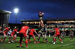 Jonathan Thomas of Worcester Warriors wins the ball at a lineout - Photo mandatory by-line: Patrick Khachfe/JMP - Mobile: 07966 386802 27/05/2015 - SPORT - RUGBY UNION - Worcester - Sixways Stadium - Worcester Warriors v Bristol Rugby - Greene King IPA Championship Play-off Final (Second leg)
