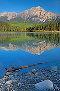Pyramid Mountain reflected in Patricia Lake and the Canadian Rocky Mountains<br /> Jasper National Park<br /> Alberta<br /> Canada<br /> Jasper National Park<br /> Alberta<br /> Canada