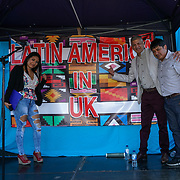 London, UK. 4th August 2017. Lina Nieto,Unmesh Desai AM and Juan Carlo Peedra organise of The 6th annual LATIN American Carnival Newham. A Latin American summer festival party with live music, delicious food & drinks and barbecue of Latino community and to show the vibrant of Latin culture at West Ham.