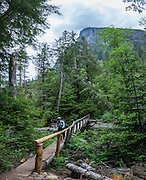 A hiker crosses a log bridge over Barclay Creek under Baring Mountain. The trailhead is up a gravel road near Baring, along US Highway 2, Washington, USA. This image was stitched from 8 overlapping photos.