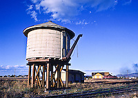 Cumbres & Toltec Scenic Railroad.  Water tank at the train station at Antonito, Colorado.