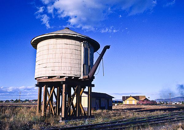 Cumbres & Toltec Scenic Railroad.  Water tank at the train station at Antonito, Colorado.