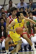 Maccabi Tel Aviv Basketball team (Yellow) Playing Hapoel Gilboa-Galil (Red) on October 16th 2011. Final result Maccabi 95 Hapoel 60 Jordan Farmar
