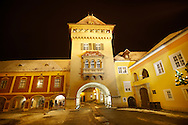 Old Town Square with the tower of the city gate at night, K?szeg  ( Korszeg ) Hungary .<br /> <br /> Visit our HUNGARY HISTORIC PLACES PHOTO COLLECTIONS for more photos to download or buy as wall art prints https://funkystock.photoshelter.com/gallery-collection/Pictures-Images-of-Hungary-Photos-of-Hungarian-Historic-Landmark-Sites/C0000Te8AnPgxjRg
