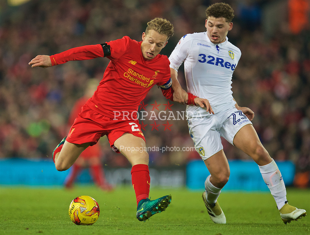 LIVERPOOL, ENGLAND - Tuesday, November 29, 2016: Liverpool's captain Lucas Leiva in action against Leeds United's Kalvin Phillips during the Football League Cup Quarter-Final match at Anfield. (Pic by David Rawcliffe/Propaganda)