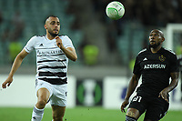 Kevin Medina (81) fights for the ball with Arthur Cabral (10) of FC Basel  during the UEFA Europa Conference League group H match between Qarabag FK and FC Basel at  on September 16, 2021 in Baku, Azerbaijan.
