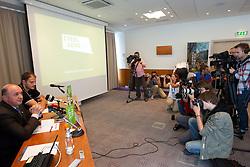Darijan Kosir, director of Slovenian Government Communication Office  and Raso Nesterovic at presentation of Eurobasket Slovenia 2013, on September 8, 2011, in Hotel Novotel,  Vilnius, Lithuania.   (Photo by Vid Ponikvar / Sportida)
