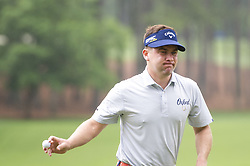 May 5, 2019 - Charlotte, North Carolina, United States of America - Chase Wright acknowledges the fans after sinking a putt on the second hole during the final round of the 2019 Wells Fargo Championship at Quail Hollow Club on May 05, 2019 in Charlotte, North Carolina. (Credit Image: © Spencer Lee/ZUMA Wire)