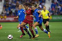 Spain's Olga Garcia and Finland's Jennifer Hermoso Maria Pilar Leon during the match of  European Women's Championship 2017 at Leganes, between Spain and Finland. September 20, 2016. (ALTERPHOTOS/Rodrigo Jimenez)