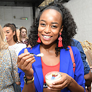 Annalise Dayes Heart FM Presenter attend the Oppo party to launch its new Madagascan Vanilla, Sicilian Lemon and Raspberry Cheesecakes, served with Skinny Prosecco at Farm Girls Café, 1 Carnaby Street, Soho, London, UK on July 18 2018.