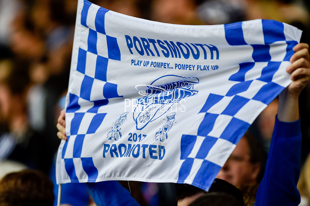 Portsmouth promotion flag during the EFL Sky Bet League 2 match between Portsmouth and Cambridge United at Fratton Park, Portsmouth, England on 22 April 2017. Photo by Adam Rivers.