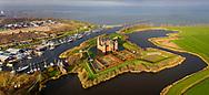 Nederland, Muiden,  20181214<br /> Luchtfoto van Amsterdam Castle Muiderslot.<br /> <br /> Foto (c) Michiel Wijnbergh