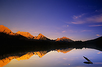 Spillway Lake and Opal Range at sunset, Kananaskis Country, Alberta, Canada
