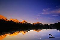 Spillway Lake and Opal Range at sunset, Kananaskis Country, Alberta, Canada