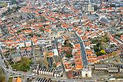 Nederland, Noord-Brabant, Bergen op Zoom, 01-04-2016; binnenstad Bergen op Zoom. In de voorgrond Gevangenpoort met in het midden Markiezenhof, rechtsboven Grote Markt met Sint-Gertrudiskerk en toren de Peperbus.<br /> Cityscape Bergen op Zoom.<br /> <br /> luchtfoto (toeslag op standard tarieven);<br /> aerial photo (additional fee required);<br /> copyright foto/photo Siebe Swart