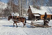 Altai Region, Siberia, Russia, 25/02/2011..A horse-drawn sleigh returning from delivering water at the Kaimskoe leisure resort, part owners of the proposed Siberian Coin casino project in the Altai mountains.