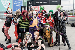 A group of cosplay enthusiasts attending the MCM London Comic Con at the Excel centre.