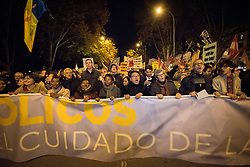 6 December 2019, Madrid, Spain: A Catholic group sings and chants, as thousands upon thousands of people march through the streets of central Madrid as part of a public contribution to the United Nations climate meeting COP25, urging decision-makers to take action for climate justice.
